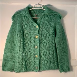 Free People mohair cardigan Flower buttons EUC